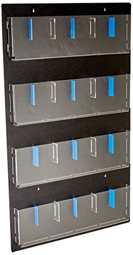 - Displays2go Hanging Magazine Rack with Adjustable Pockets, 29x48, Black Acrylic (RP12BLK)