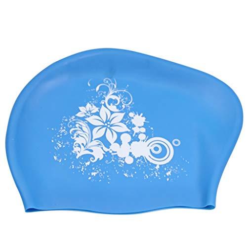 (❤️Jonerytime❤️Swimming Cap Waterproof Silicone Swim Pool Hat for Adult Long Hair Women (Sky Blue) )