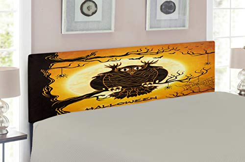 Lunarable Halloween Headboard for Full Size Bed, Spooky Owl Tree Branch Surrounded by Spider Web and Bats Fear Halloween Pattern, Upholstered Decorative Metal Headboard with Memory Foam, Orange Black