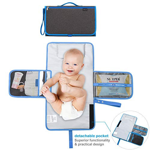 Areliz Portable Baby Diaper Changing Pad Diaper Changing Clutch Mat Cushioned Travel Changing Pad with Head Pillow. Wipeable, Detachable, Practical and Waterproof Diaper Changing Station.