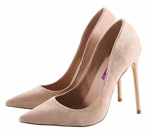 Women's Sexy Fashion Shallow Pointed Toe Slip On High Heels Pumps Dress Stilettos Court Shoes Nude VE FEgbUdn