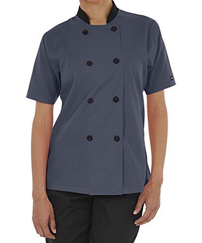 Women's Lightweight Short Sleeve Chef Coat (XS-3X, 3 Colors) (X-Large, Granite/Black) by ChefUniforms.com