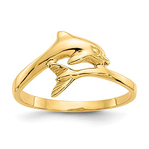 JewelrySuperMartCollection 14k Yellow Gold Dolphin Ring (10mm Width) - Size 8