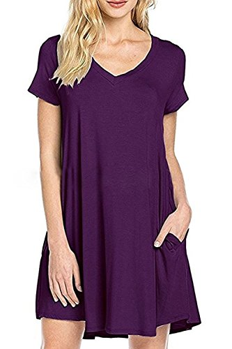 WIWIQS Women's Casual Plain Simple Pockets T-Shirt Loose Dress,Purple S (Form Singer Dress Small)
