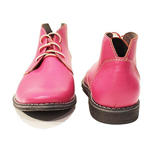 Modello Pinkuero - Handmade Italiano da Uomo in Pelle Rosa Chukka Boots - Vacchetta Pelle Morbido - Allacciare