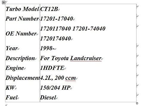 GOWE turbo turbocompresor para CT12B 17201 - 17040 - Turbo turbocompresor para Toyota posavasos hdb50 hdb51 Landcruiser 100 4 en hdj100 1hd-fte 1HD FTE ...