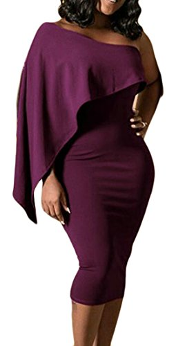 Purple One Midi Dresses Bodycon Shoulder Shawl Solid Pencil Womens Cromoncent fwHqBzx7Ox