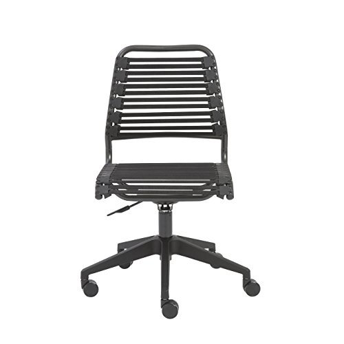 Euro Style Baba Flat Bungie Low Back Adjustable Office Chair (Assembly Required), Black Bungies with Graphite Frame