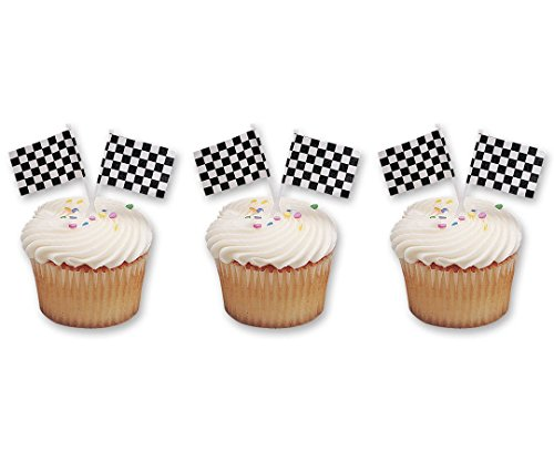 Checkered Racing Cupcake Picks 48 Pack product image