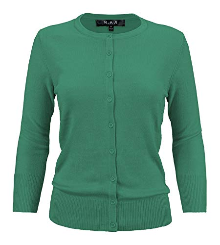YEMAK Women's Crewneck Button Down Knit Cardigan Sweater Vintage Inspired,Kelly Green,3X -