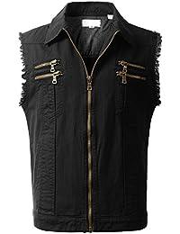 Mens Hipster Hip Hop Button-Down Sleeveless Denim Vest Jacket