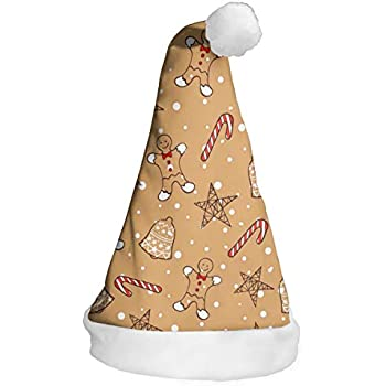 Christmas Gingerbread Cookies Christmas Hats Santa Hat Novelty Festive  Party Hat Xmas Costume for Adults Kids Celebrations f73121a3244c