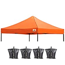 ABCCANOPY Replacement Top Cover 100% Waterproof (18+ Colors) 10x10 Pop Up Canopy Tent Top, Bonus 4 x Weight Bags (Orange)