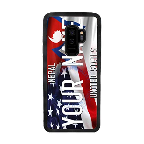 BRGiftShop Personalize Your Own Mixed USA and Nepal Flag Rubber Phone Case For Samsung Galaxy S9 Plus