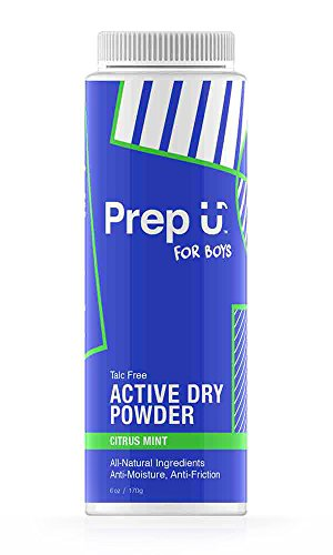 Anti Friction Skin (Prep U Body Powder for Boys - All Natural Skin Care for Teens - Chafing Relief - Talc Free - Anti-Moisture, Anti-Friction - Citrus Mint Scent)