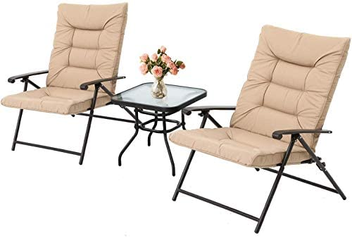 Skiway 3-Piece Patio Padded Folding Chair