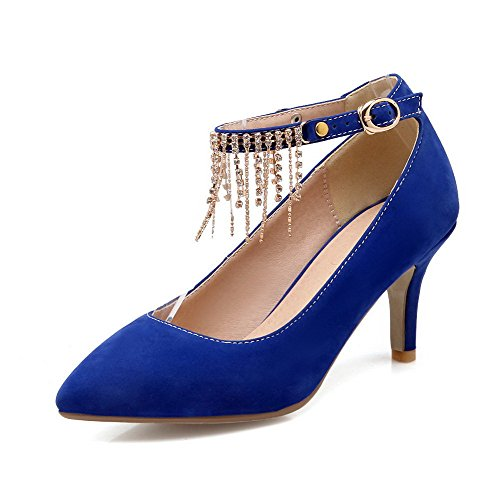 Allhqfashion Para Mujer De Tacones Altos Hebilla Hebilla Sólida Acentuada Cerrado Pumps-Zapatos Azul