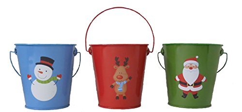 Christmas Pot (Set of 6 Painted Christmas Holiday Metal Pails Planters- Size 4 inches)
