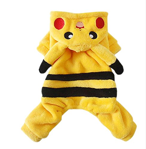 Adorable Pikachu Halloween Dog Costumes Dog Hoodie Jumpsuit Dog Coat Pet Dog Clothes (S) -