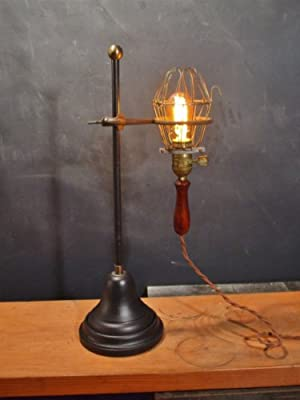 Vintage Industrial Table Lamp - Trouble Light with Lab Stand