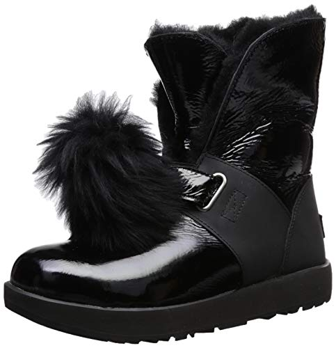 UGG Women's W Isley Patent Waterproof Fashion Boot Black 8 M US (Leather Patent Uggs)