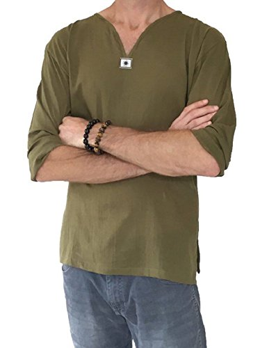 Men's Summer T-shirt 100% Cotton Thai Hippie Shirt V-neck Beach Yoga Top (XXXX-Large, Army - Male Fashion Hippie