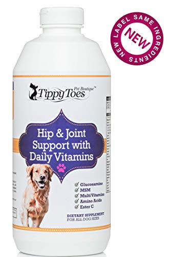 Tippy Toes Pet Boutique Liquid Glucosamine MSM For Dogs with Daily MultiVitamins Safe & Natural Hip and Joint Supplement - Aids Mobility and Arthritis HUGE 32oz bottle USA Made