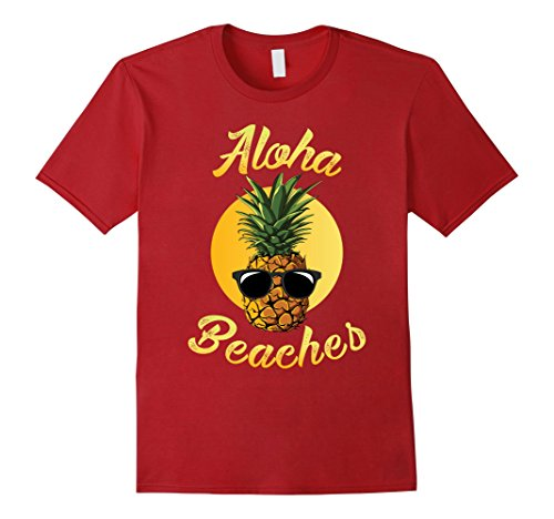 Mens Pineapple Sunglasses Aloha Beaches Hawaii - Hawaiian T-shirt Medium - Sunglasses Aloha Friday