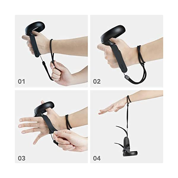 [Newer Version] KIWI design Knuckle Strap for Oculus Quest/Oculus Rift S Touch Controller Grip Accessories with Adjustable Wrist Strap (Black, 1 Pair) 6