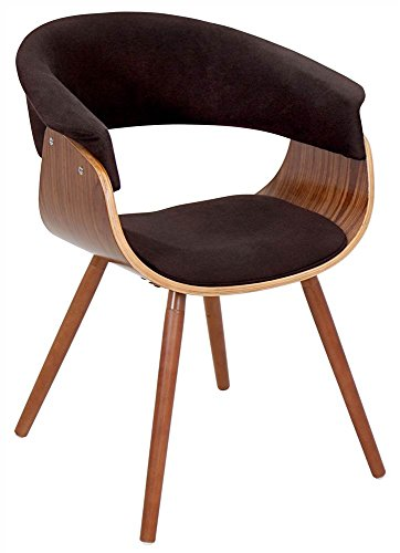 WOYBR CHR-JY-VMO WL+E Bent Wood, Woven Fabric Vintage Mod Chair, Walnut/Espresso ()