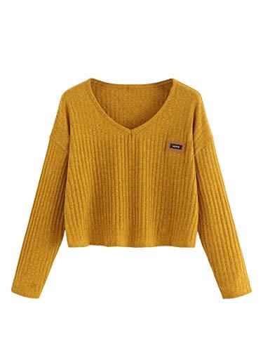 SweatyRocks Womens Casual Long Sleeve V Neck Ribbed Tee Shirt Sweater Crop Top