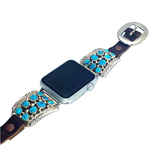 Genuine Kingman Turquoise Apple Watch Replacement Band, 925 Sterling Silver and Leather, Signed and Hallmarked Authentic Navajo Native American, Handmade in the USA, 38mm, 40mm, 42mm