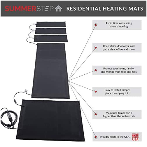 Summerstep Home DM24x36C-RES Residential Snow Melting Heated Door Mat, Anti-Slip, Ideal Winter Safety Snow Mat…