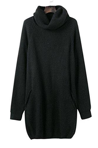 Abito Pullover Alto A Donna Collo Caloroso Maglia Eleganti Nero Minetom Inverno Pullover Lungo Vestiti Sciolto Autunno a 8H6qPf4