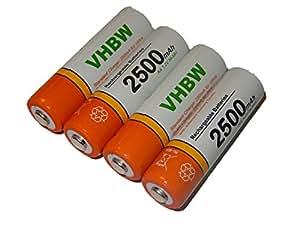 vhbw 4 x AA, Mignon, HR6, LR6 baterías 2500mAh para L100