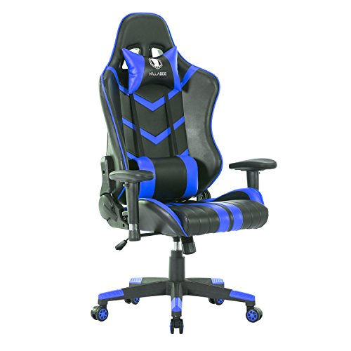 KILLABEE Memory Foam Gaming Chair – Multifunctional High-Back Leather E-Sports Racing Computer Chair Ergonomic Executive Office Chair with Lumbar Support and Adjustable Headrest, Blue&Black