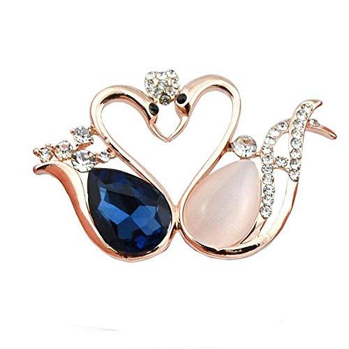 DB&PEISHI 3pcs High-end crystal Opal Little Swan brooch , gold + (Gold Cymbidium)