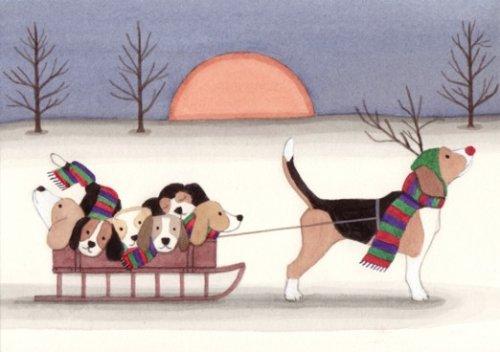 12 Christmas cards: Beagle family takes a holiday sled ride / Lynch folk art