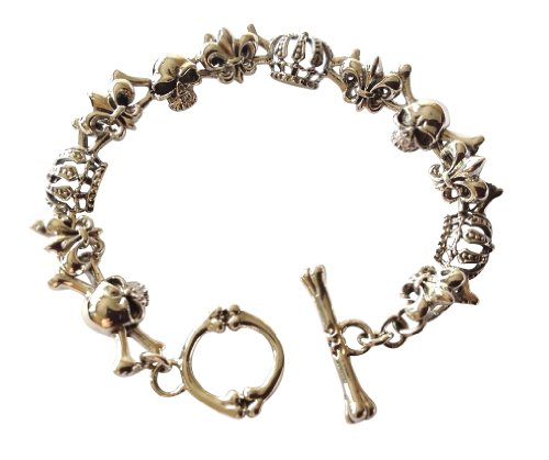 joy-nin 925 Sterling Silver Skull and Crown Bone Clasp Bracelet 30g