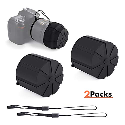 (Silicone Universal Lens Caps, Waterproof Dustproof Lens Case Cover Replacement with Anti-Lost Rope for 60mm-110mm DSLR Camera Lens(2 Packs))