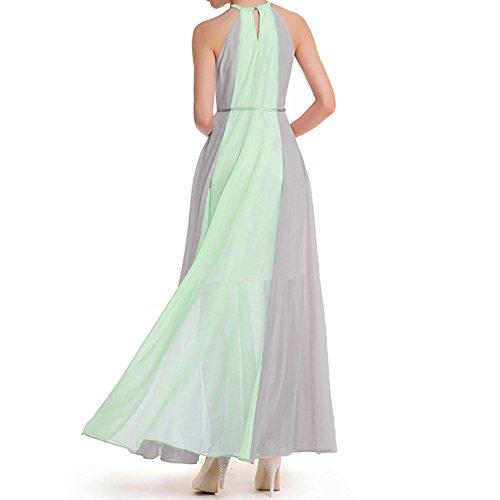 vestido elegantes gasa de largo de partido verano época de de señoras Scothen de vestidos ropa Las del vestidos maxi gasa vestido cóctel de lazo largos playa maxis vestido Green Grey noche vestidos mangas del qwEEC1AP