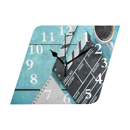 NMCEO Rhombus Wall Clock Clapper Movie Blank Note Coffee Acrylic Original Clock for Home Decor Creative ()