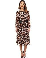 Adrianna Papell Women's Long Sleeve Blouson Tea Length Chiffon