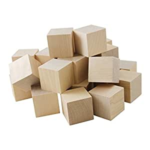 "Wooden Cubes – 1"" Baby Wood Square Blocks – For Puzzle Making, Crafts, And DIY Projects – 50 Pieces by Woodpecker Crafts"