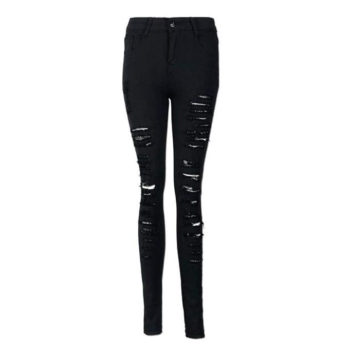 NPRADLA Vaqueros Jeans Tendencia Pantalón Vaquero Pitillo Desgastado de Cintura Alta para Mujer Vaqueros elásticos de lápiz Delgado Moda Casual Negro L: ...