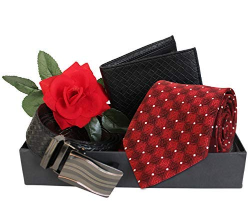 Buy Tied Ribbons Valentine Gifts For Him Boyfriend Husband Boys Combo Pack Men S Tie Leather Wallet Leather Belt Dual Side With Red Rose Packed In Gift Box At Amazon In