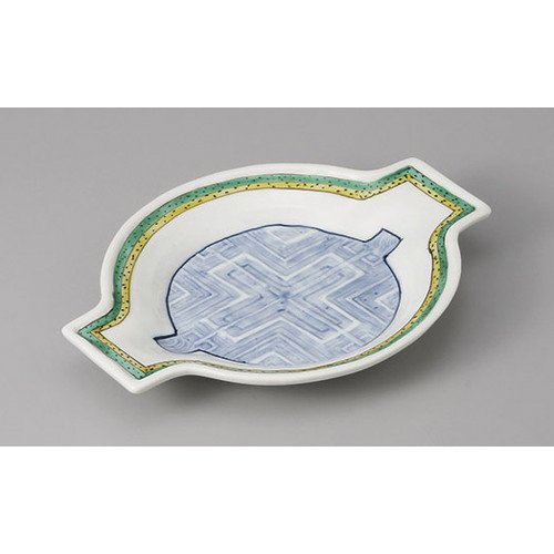[mkd-31-4-2e] Prospective orientation expected cross shaped Biwa type orientation [20 x 15.8 x 2.7 cm] Ryotei Ryokan Japanese style dish for drinking service (Biwa Cross)