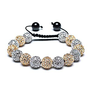 Bling Jewelry Shamballa Inspired Bracelet Gold Plated Alloy Crystal Balls 12mm Silver Plated