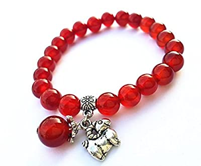 Feng Shui Handmade Chinese Zodiac Red Agate Beads Bracelet and a Gift Pounch with Betterdecor Logo Printed on It
