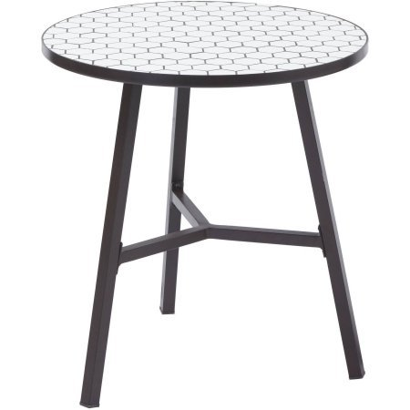 Camrose Farmhouse Hexagon Shaped Mosaic Tile Top Table